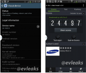Screenshoots Galaxy Note 3 About Phone
