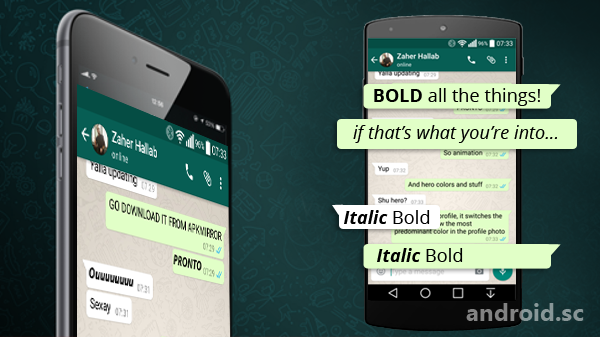how to write italics on android
